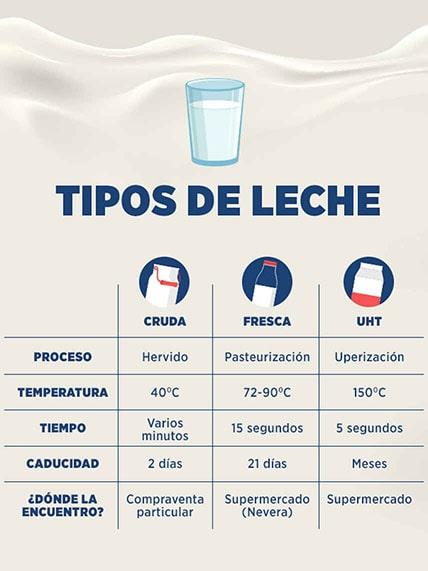 Tipos de leche: cruda, fresca y UHT